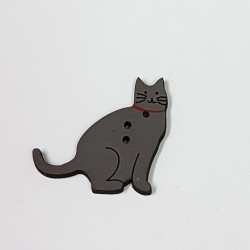 Gray Cat Wood Button