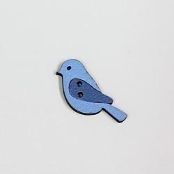 Botón Madera Pájaro Azul